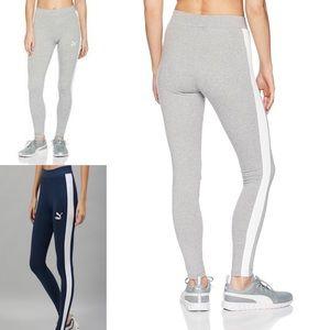 Puma Side Stripe Grey & White Logo Leggings
